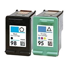 Ouguan Ink Remanufactured Ink Cartridge Replacement For Hewlett Packard HP 98 & HP 95 CB327FN C9364WN C8766WN (1 Black, 1 Tri-Color) 2 Pack