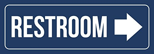iCandy Combat Blue Background with White Font Restroom - Right Arrow Business Retail Outdoor & Indoor Plastic Wall Sign - Single, 3x9