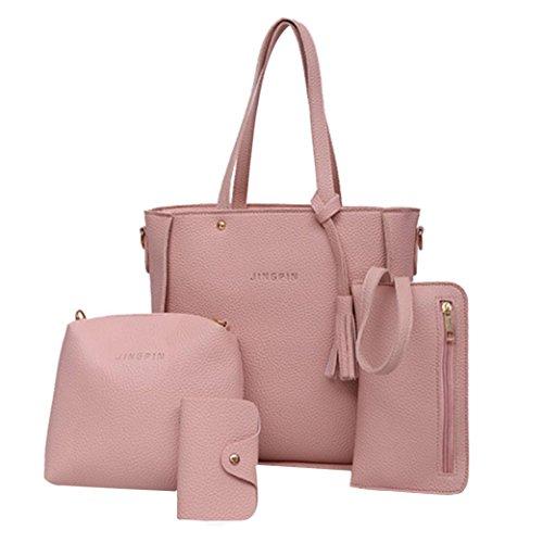 Price comparison product image Clearance Sale! Women Four Set Handbag Shoulder Bags Four Pieces Tote Bag Crossbody Wallet Bags ZYEE