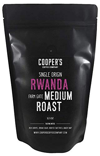 Rwanda Full Bodied Medium Roast Coffee Beans, Farm Gate Direct Trade, Micro Lot Single Origin Whole Coffee Beans, Gourmet Coffee - 12 oz Bag