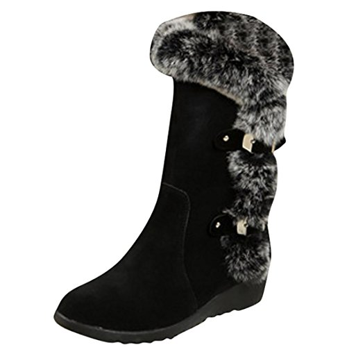 Sexy Wingtip Shoes (Hot Sale! Women Boots,Canserin 2017 Women's Classic Winter Boots Warm Mid Calf Boots Thick Platform Cold Weather Snow Shoes (7 (M) US, Black))