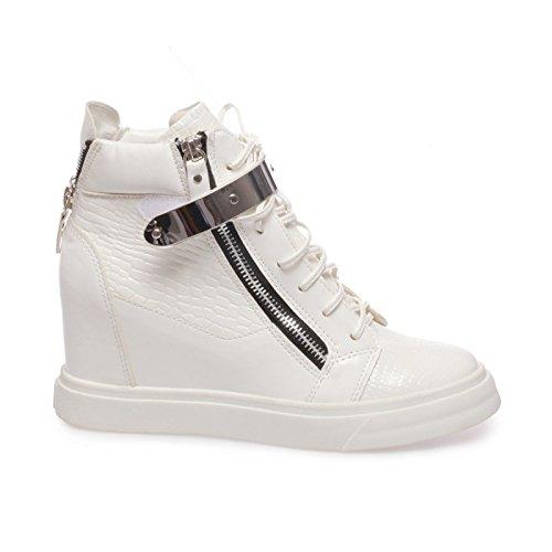 La Modeuse-zapatillas deportivas para mujer, 2, diseño de reptiles y barnices Blanco - blanco