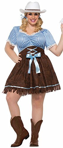 Forum Novelties Women's Plus-Size Cowgirl Costume, Multi,]()