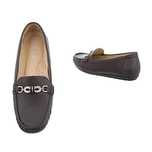 Ital-Design Women's Loafer Flats Flat Moccasins at Dark Brown 4771 7a4o6