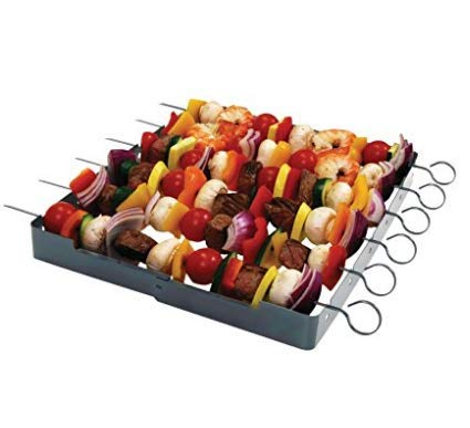 Stainless Steel-Heavy Duty, Shish Kabob Maker 6-Pc. Skewer - Shish Kabob Rack & Grill Set for ALL Meats & Vegetables-Over 2 Dozen Amazing Shish Kabob Recipes, Interlocking Shish Kabob Skewers, by MORE