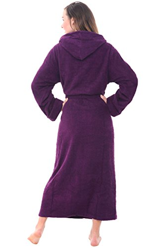 Del Rossa Women's Turkish Terry Cloth Robe, Long Cotton Hooded Bathrobe, Large XL Purple (A0127PURXL)