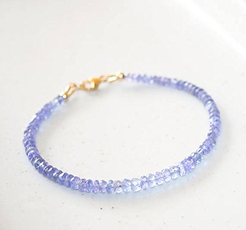 JP_Beads Tanzanite Bracelet, 14K Gold FilledFilled Filled, Small Blue Gemstone Beaded Bracelet, December Birthstone, Delicate Stackable Bracelet, Gift for Wife 3.5-4 ()