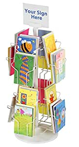 """Greeting Card Display Rack with (16) 5 x 7 Tiered Pockets for Countertop Use, 29"""" Tall Spinning Wire Stand - White Wire Construction with Plastic Base and Sign Holder"""