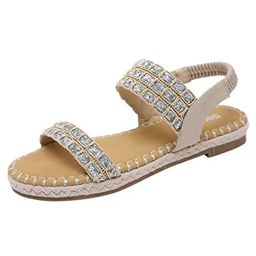 (LUCA Women's Comfort Bohemian Sequin Open Toes Slingback Ankle Strap Flats Ladies Sandals Khaki)