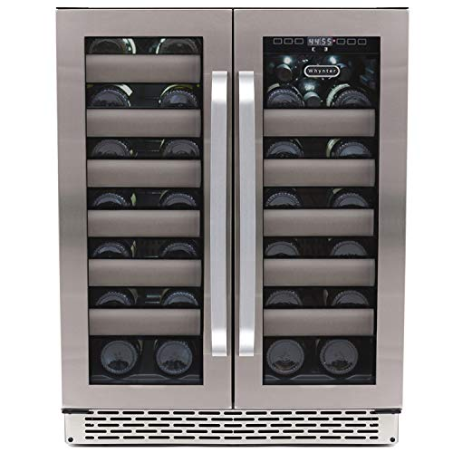 Whynter BWR-401DA Elite 40 Bottle Seamless Door Dual Zone Built-in Wine Refrigerator, Stainless Steel