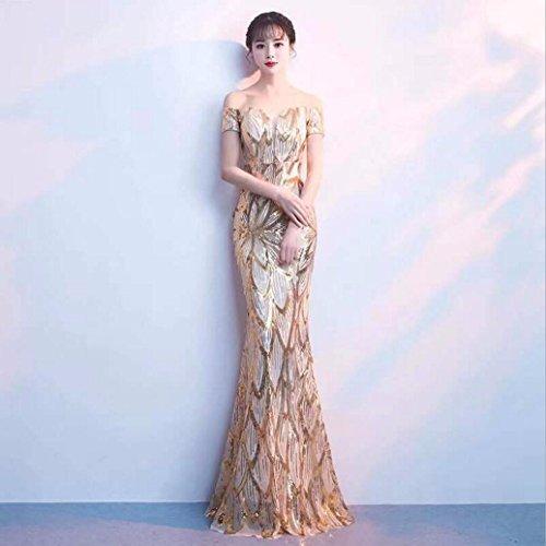 WBXAZL El Vestido de Noche es Elegante y Elegante. Golden