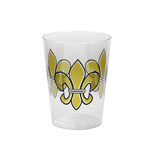 Party Essentials N102030 20-Count Printed Hard Plastic 10 oz Tumblers/, Fleur De Lis Cups, Clear by Party Essentials