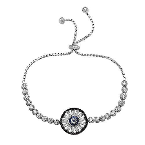 Baguette Bracelet White (Crush & Fancy Crystal Baguettes Blue Eye Tennis Bracelet | 925 Sterling Silver Women's Tennis Bracelet with Baguettes | Crystal Tennis Bracelet | Adjustable Fit (White Tone - Elgin))