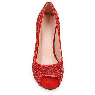 Talones de las mujeres Zapatos Primavera Verano Otoño Invierno Club de boda sintético Fiesta y vestido de noche de lentejuelas de tacón de aguja Negro Rojo Plata Oro Red