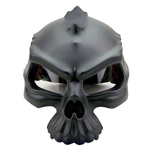 [Motorcycle Bike Scooter Open Face Helmet 3D Skull Skeleton Half Helmets Protective Gear [Matte Black White Gold Silver] [DOT] S M L XL] (Halo Spartan Suit For Sale)
