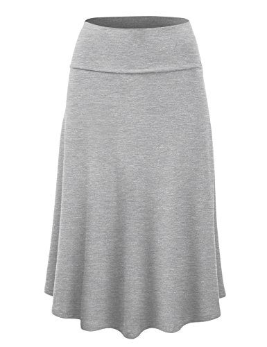 Lock and Love WB1105 Womens Lightweight Fold Over Flared Midi Skirt M (Lightweight Spandex Skirt)