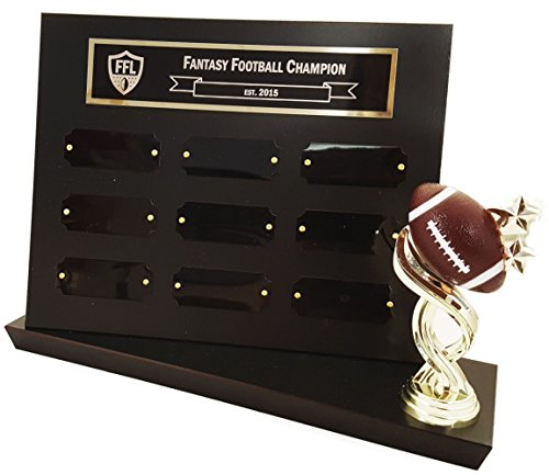 9 Year Engraved Fantasy Football Plaque Trophy P5000 - Click to Customize!