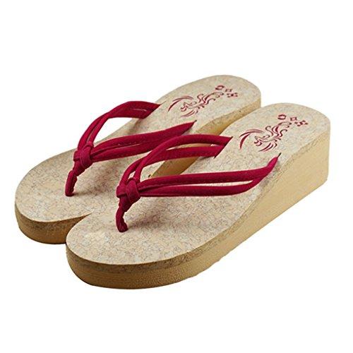 Hatop New Women Candy Color Sandal Platform Wedges Flip Flops Home Slippers (New Slipper Sandal Flip Flop)