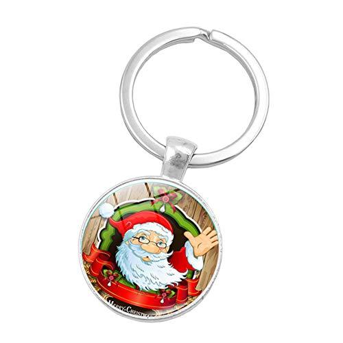 (Yonger Cute Key Chain Beautiful Car Key Ring Bag Hanging Ornaments Red Santa Claus Rings Pendant Jewelry)