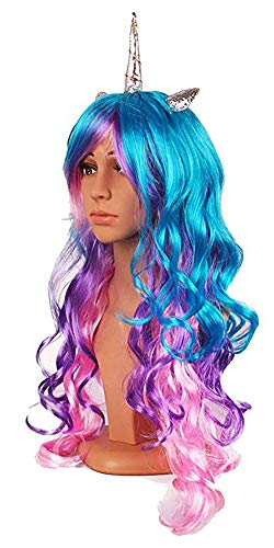 MeGaLuv Luxury Horn Headband Hairpiece Rainbow Wig Perfect for Party Decoration or Cosplay Costume (Silver Rainbow)]()