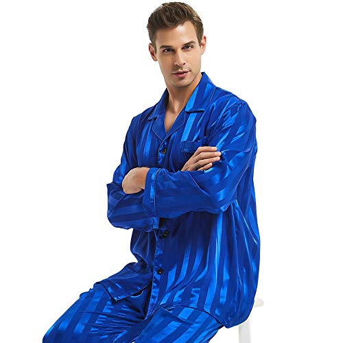 Mens Silk Satin Pajamas Set Sleepwear Loungewear Striped Invy XL