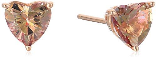(Rose-Gold-Plated Sterling Silver Heart-Shape Misty Rose Solitaire Swarovski Topaz Gemstone Stud Earrings)