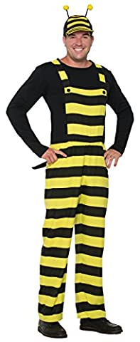 Forum Women's Worker Bee Stripped Overalls and Hat Costume, Black/Yellow, STD - Black Queen Adult Costume