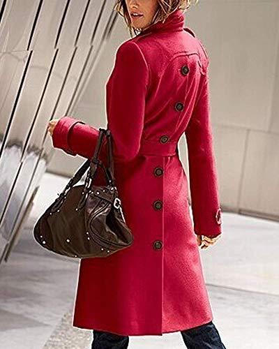 Fendue Size L Red Home color Dos De Women Trench Ceinturé Jacket Long Manteau Femmes Hiver Élégant Laine Fermeture Revers Bouton Red PHfwUp