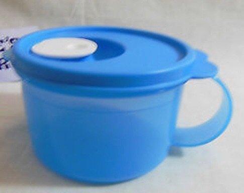 (Tupperware CrystalWave Soup Mug 2 Cup in Clear Azure Blue)