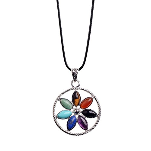 Zhepin 7 Chakras Gemstone Healing Crystal Quartz Stone Silver Chain Flower Petals Pendant Necklace for DIY Jewelry Making