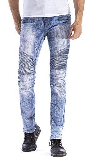 HENGAO Men's Looks Dirty Straight Slim Fit Moto Biker Jeans, 1023 Light Blue, W42 - Dirty Wash Jeans