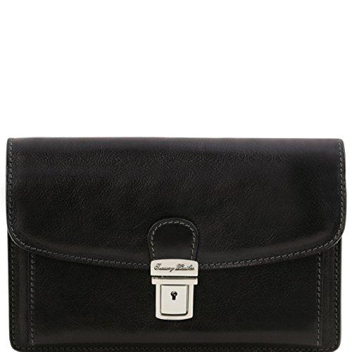 Tuscany Leather Arthur - Elegante bolsillo de señor en piel Negro Bolsos en piel Negro