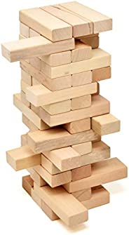 Timber Tower Wood Block Stacking Game, 48 Piece Classic Wooden Blocks for Building, Toppling and Tumbling Game
