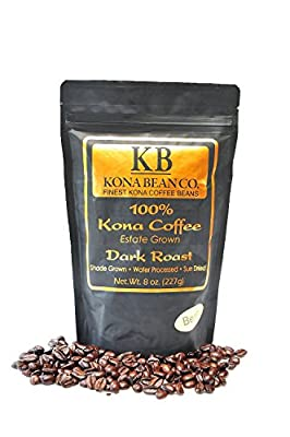 Kona Coffee Beans - Kona Bean Co. Extra Fancy Estate Grown 100% Kona Coffee - Hawaiian Kona Coffee - 2 - 8oz Bags Total1 LB
