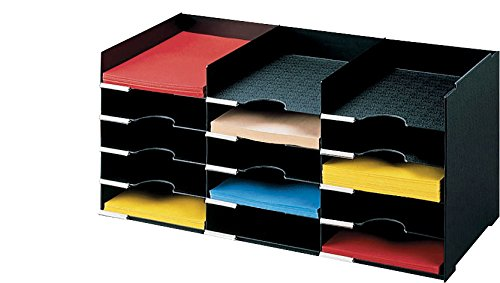 PaperFlow 26 1/2-Inch Stackable Horizontal Desktop Organizer, 15 Compartments, Black (531.01) by Paperflow (Image #1)