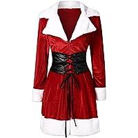 Novelty Trendy! Kshion Womens Autumn Winter Santa Coat Christmas Suit Jacket Velvet Coat With Belt Coat Cardigan Outwear