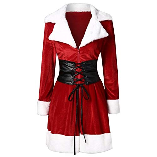 FEDULK Christmas Womens Coat Santa Claus Patchwork Faux Fur Cosplay Jacket With Belt(Red, US Size M = Tag L) ()