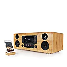 100 Watts Wired/Wireless Compact Stereo System, Built-in Bluetooth, Bamboo Wood Case, and Full Range Speaker