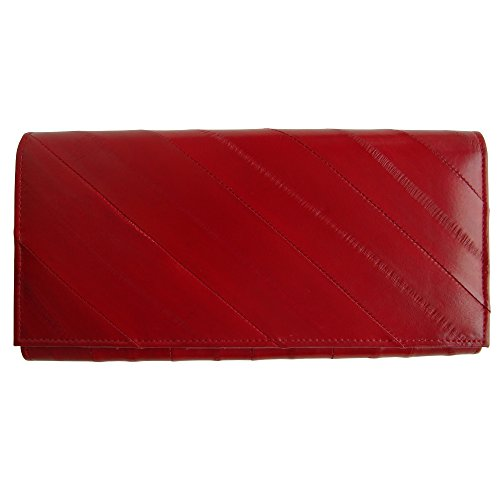 Eel Skin Clutch - Rainbow Women's Genuine Eel Skin Leather Clutch Wallet Red