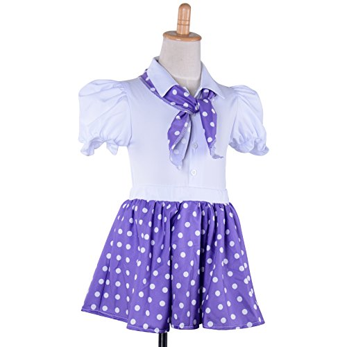 Child's Rock N Roll Skirt Girls Polka Dot Kids Fancy Dress 50'S Rockabilly Dance Show Skirt&Scarf Party (Purple, M)
