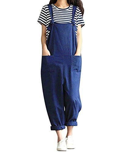 LVCBL Women Loose Tunic Overall Solid Long Playsuit Jumpsuit Dungarees Romper Navy 2XL ()
