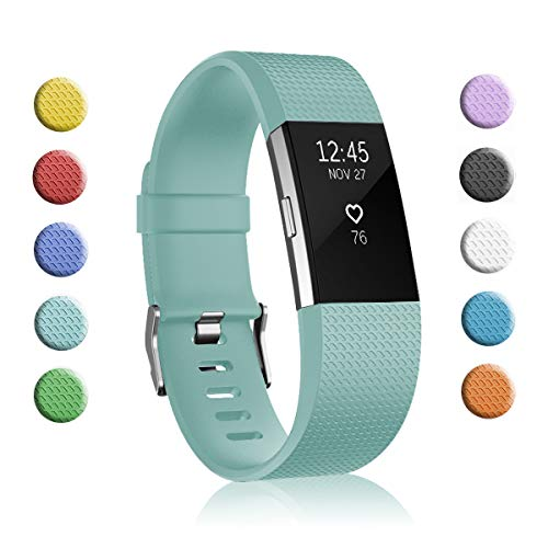 Fundro Replacement Bands Compatible with Fitbit Charge 2, Classic & Special Edition Adjustable Sport Wristbands (1-Pack Tiffany Blue, Small (5.5-6.7))