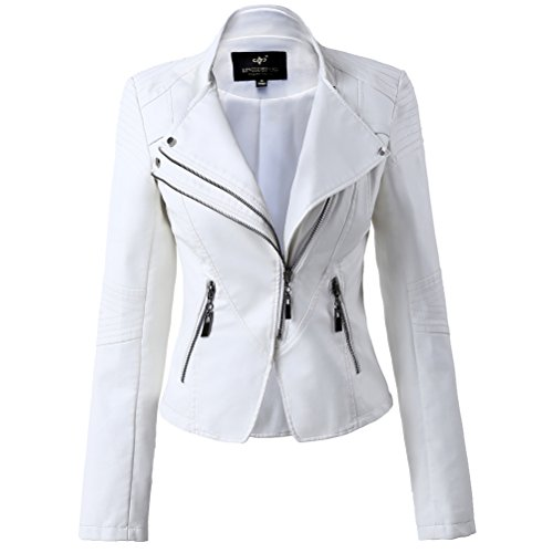 White Leather Biker Jacket - 3