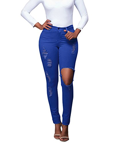 bleue Dchir Slim Collant Couleur Denim Pantalons Leggings Haute Washed Taille Femme Stretch Jeggings Pants Jeans P6YITfx