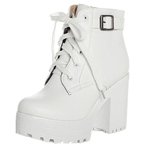 HAPPYLIVE SHOPPING Women's Winter Fashion Waterproof Platform Combat Ankle-High High-Heel Chunky Boots, Lace-up Martin Boots (9 US 40EU, White)