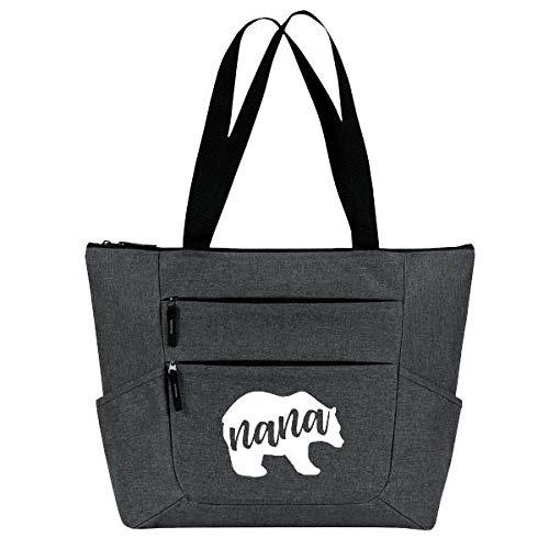 Grandma Tote Bag for Women - Large, Durable Zippered Totes with Pockets - Perfect Gift for Grandma, Nana, Grandmothers (Nana Bear Gray)