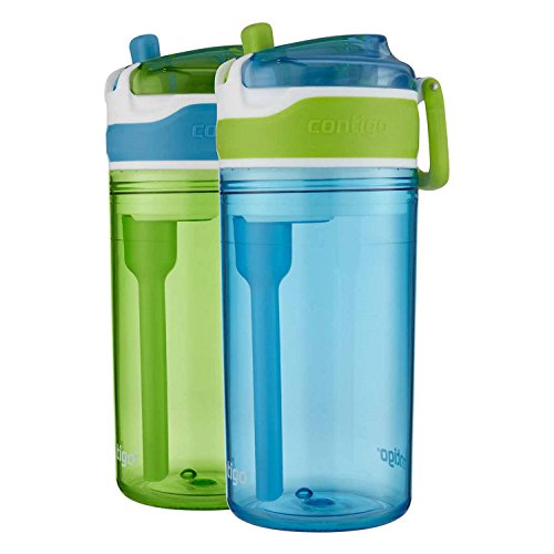 Contigo Kids 2-in-1 Snack Hero Tumbler Water Bottle or Snack Container, Green & Blue (2 Pack)