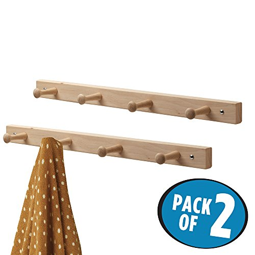 mDesign Wall Mount Peg-Rail Storage - 2 Pack