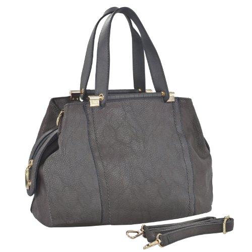 MG Collection ADIA Grey Purple Fashion Convertible Hobo Handbag / Doctor Style Purse, Bags Central