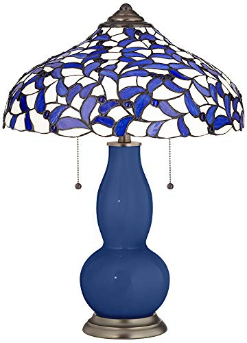 Monaco Blue Gourd Table Lamp with Iris Blue Shade - Tiffany Color - Iris Lamp Table Bronze